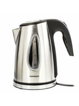 Чайник, 1,7 л., 2200 Вт, закрытый нагревательный элемент, нержавеющая сталь, черный, подсветка, Sonnen KT-1721, картон