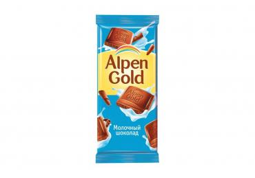 Шоколад молочный, Alpen Gold, 90 гр, бумага