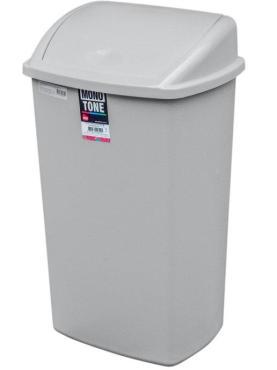 Контейнер мусорный прямоугольный 50 л., 400х340х680 мм., с качающейся крышкой пластик серый, Bora
