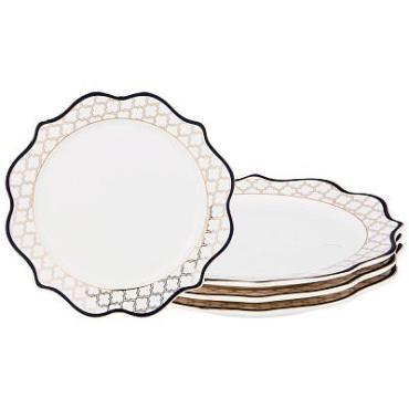 Набор десертных тарелок, 4 штуки, диаметр 20,5 см., синяя кайма Lefard