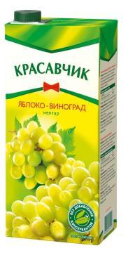 Нектар для детского питания яблоко-белый виноград, Красавчик, 1,9 л., тетра-пак