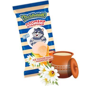 Мороженое пломбир топленое молоко 15 %, Простоквашино, 80 гр., флоу-пак