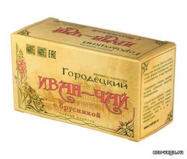 Чай  с брусникой, Иван чай Городецкий, 100 гр., картон