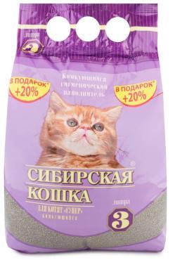Наполнитель для котят супер 3 л., Сибирская Кошка, 2,5 кг., пластиковый пакет