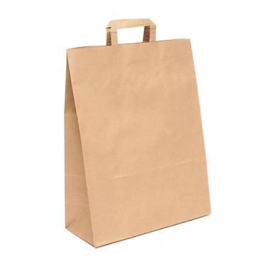 Пакеты (330+180) х370 мм., коричневый,78г/м2, крафт бумажный с плоской ручкой, картон