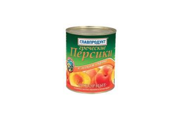 Персики Главпродукт половинки в легком сиропе, 820 гр., ж/б