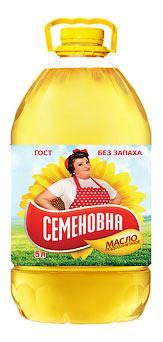 Масло Семеновна подсолнечное рафинированное, 5 л., пэт