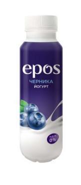 Биойогурт Epos питательный с черникой обезжиренный, 250 гр., ПЭТ