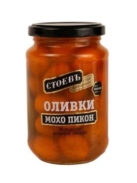 Оливки Стоевъ Мохо Пикон с косточкой, 350 гр., стекло