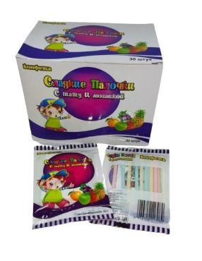 Конфета Сладкие палочки, белые с тату и мозаикой, 11 гр., картон