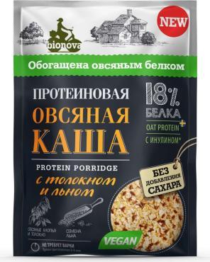 Каша Bionova Протеиновая овсяная с толокном и семенами льна быстрого приготовления