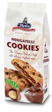 Печенье Nougatelli с шоколадом и орехами, Merba, 200 гр., флоу-пак