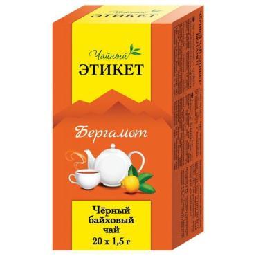 Чай черный Чайный Этикет Бергамот байховый 20 пакетов