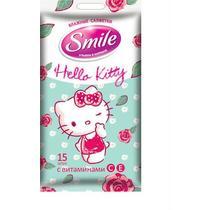 Влажные салфетки для всей семьи 15 шт., Smile Hello Kitty, флоу-пак