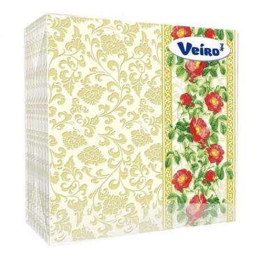 Салфетки бумажные сервировочные 2 слоя 24х24 см. 25 шт., Veiro, пластиковый пакет