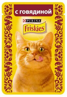 Корм влажный для кошек с говядиной Friskies 85 гр. Дой-пак