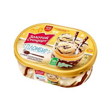Мороженое Золотой стандарт Пломбир с суфле и шоколадным наполнителем 475 мл