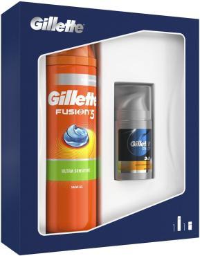 Подарочный набор Gillette Fusion5 Гель для бритья, для чувствительной кожи, Бальзам после бритья Мгновенное увлажнение