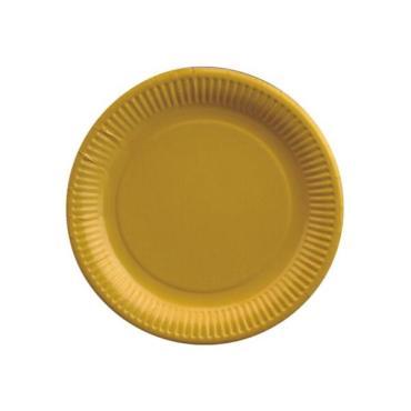 Тарелка бумажная Papstar картон желтый D230мм.