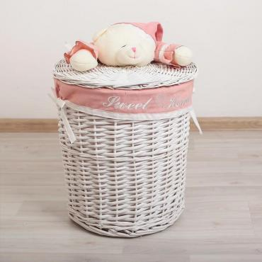 Корзина универсальная Доляна Медвежонок розовый 45х45х55 см. плетеная круглая