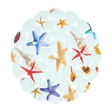 Коврик в раковину Доляна Морские звёзды круглый, 29×29 см.