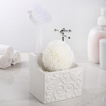 Дозатор для моющего средства Доляна Камелия с подставкой для губки и щётки белый