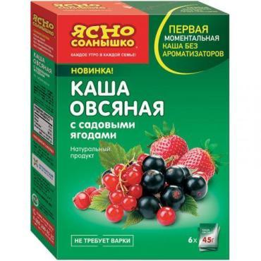 Каша овсянная, с садовыми ягодами 6пак., Ясно Солнышко Актив, 270 гр., Картонная коробка