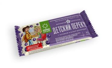 Батончик-мюсли черника и белый шоколад Детский Перекус 25 гр., Флоу-пак