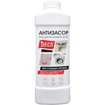 Средство для прочистки труб, Антизасор, Decs, 1 л., Пластиковая бутылка