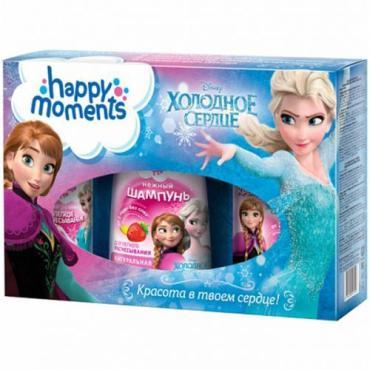 Подарочный набор Happy Moments Холодное сердце шампунь,спрей для волос,крем для рук, 590 гр., картонная коробка