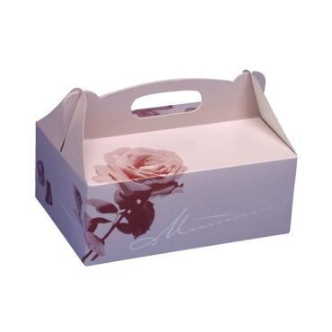 Коробка для пирожных Papstar картон розовая 260х220х90мм.