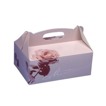 Коробка для пирожных Papstar картон розовая 230х160х90мм.