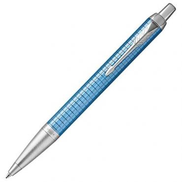 Ручка шариковая Parker IM Premium Blue CT корпус голубой с гравировкой хром узел 0,7 мм. Синяя