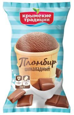 Мороженое пломбир шоколадный в вафельном стаканчике, Крымские Традиции, 70 гр.