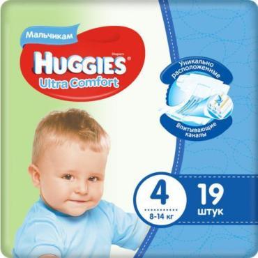 Подгузники, 4, 19 шт, Huggies Ultra comfort, 592 гр., пластиковая упаковка