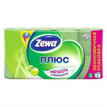 Туалетная бумага Яблоко, 2 слоя, 8 рулонов, Zewa Плюс, Пластиковая упаковка