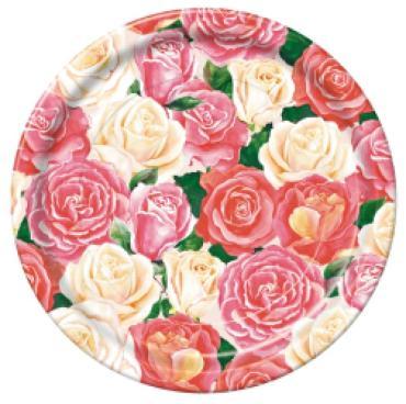 Набор одноразовой посуды Bulgaree Green Розовый букет, разноцветный, размер 230х230х20 мм., 70 гр.