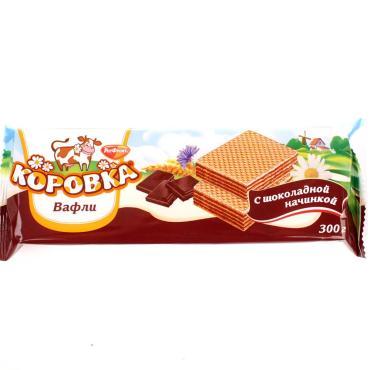Вафли с шоколадной начинкой, Рот Фронт Коровка, 300 гр., флоу-пак