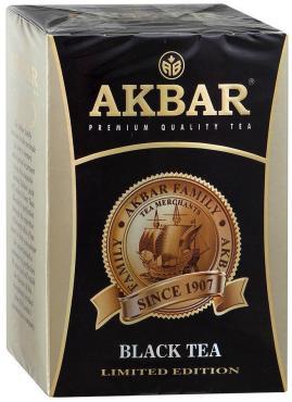 Чай Akbar Limited Edition листовой черный, 200 гр., картон