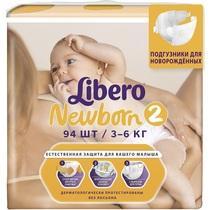 Подгузники Libero Newborn 2 3-6 кг, 94шт