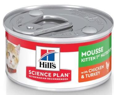 Корм влажный для котят для здорового роста и развития, мусс с курицей и индейкой Hill's Science Plan, 82 гр., жестяная банка