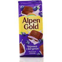 Шоколад Alpen Gold молочный с чернично-йогуртовой начинкой 90 гр.