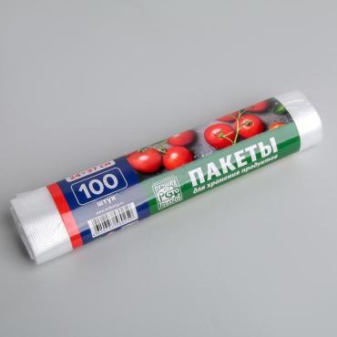 Пакеты для хранения продуктов 24×37 см, 100 шт в рулоне, цвет прозрачный