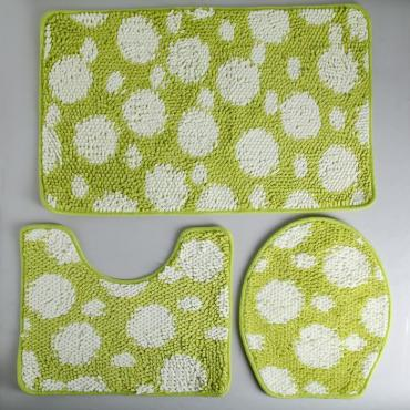 Набор ковриков для ванны и туалета Доляна Букли 37х44 см., 40х50 см., 50х80 см. бело-зеленый 3 шт.