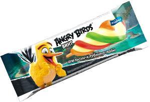 Мороженое эскимо винт ананасовое с льдом клубника-апельсин-лайм  Angry Birds, ПОЛЯРИС, 50 гр., флоу-пак