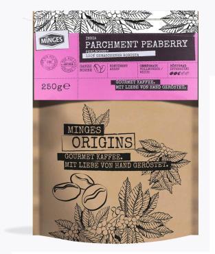 Кофе натуральный жареный в зернах MINGES ORIGINS INDIA PARCHMENT PEABERRY 250 гр, флоу-пак
