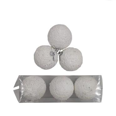 Елочные украшения Белый снег диаметр шара 8 см., 3 шт