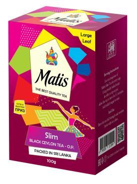 Чай листовой черный для похудения Matis Slim, 100 гр., картонная коробка