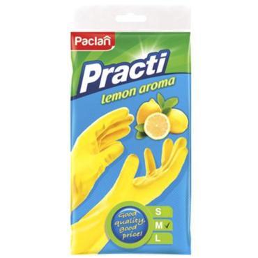 Перчатки хозяйственные - размер M, с хлопчатобумажным напылением, Paclan, Пластиковый пакет