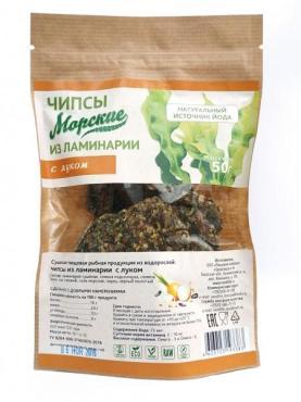Чипсы морские из ламинарии с луком, Здоровцов, 50 гр, дой-пак